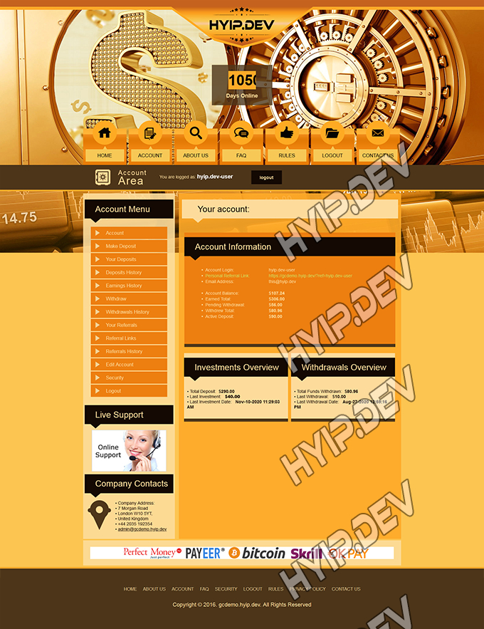 goldcoders hyip template no. 077, account page screenshot