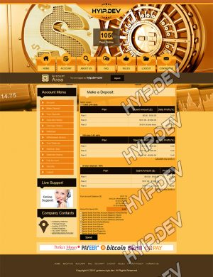 goldcoders hyip template no. 077, deposit page screenshot