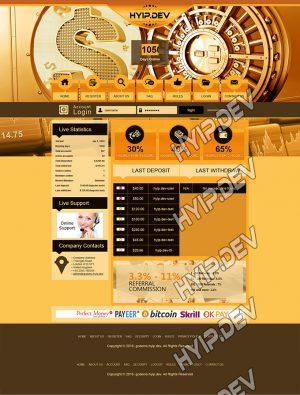 goldcoders hyip template no. 077, home page screenshot