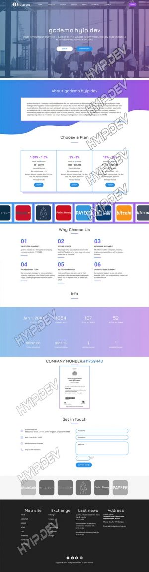 goldcoders hyip template no. 078, home page screenshot