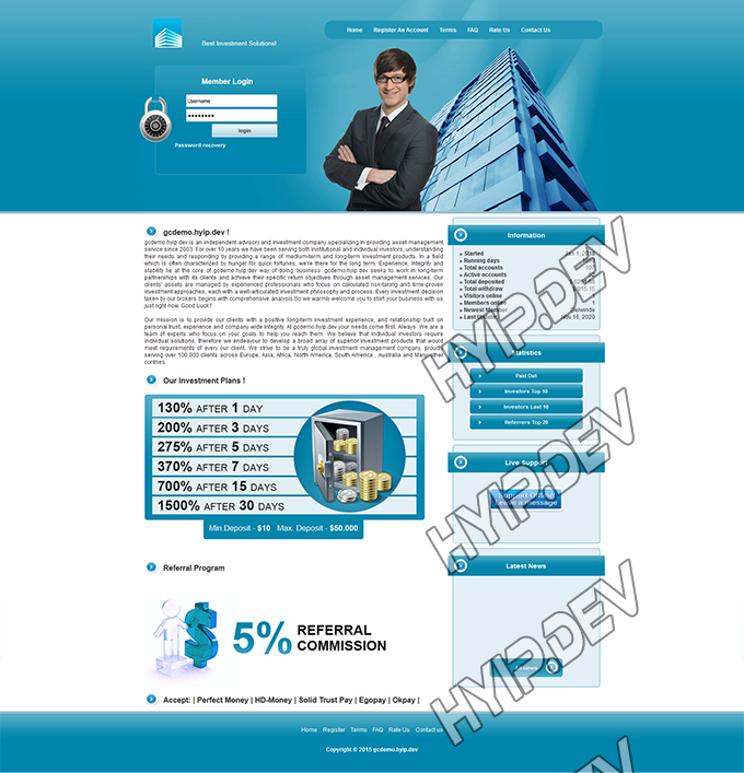 goldcoders hyip template no. 079, home page screenshot