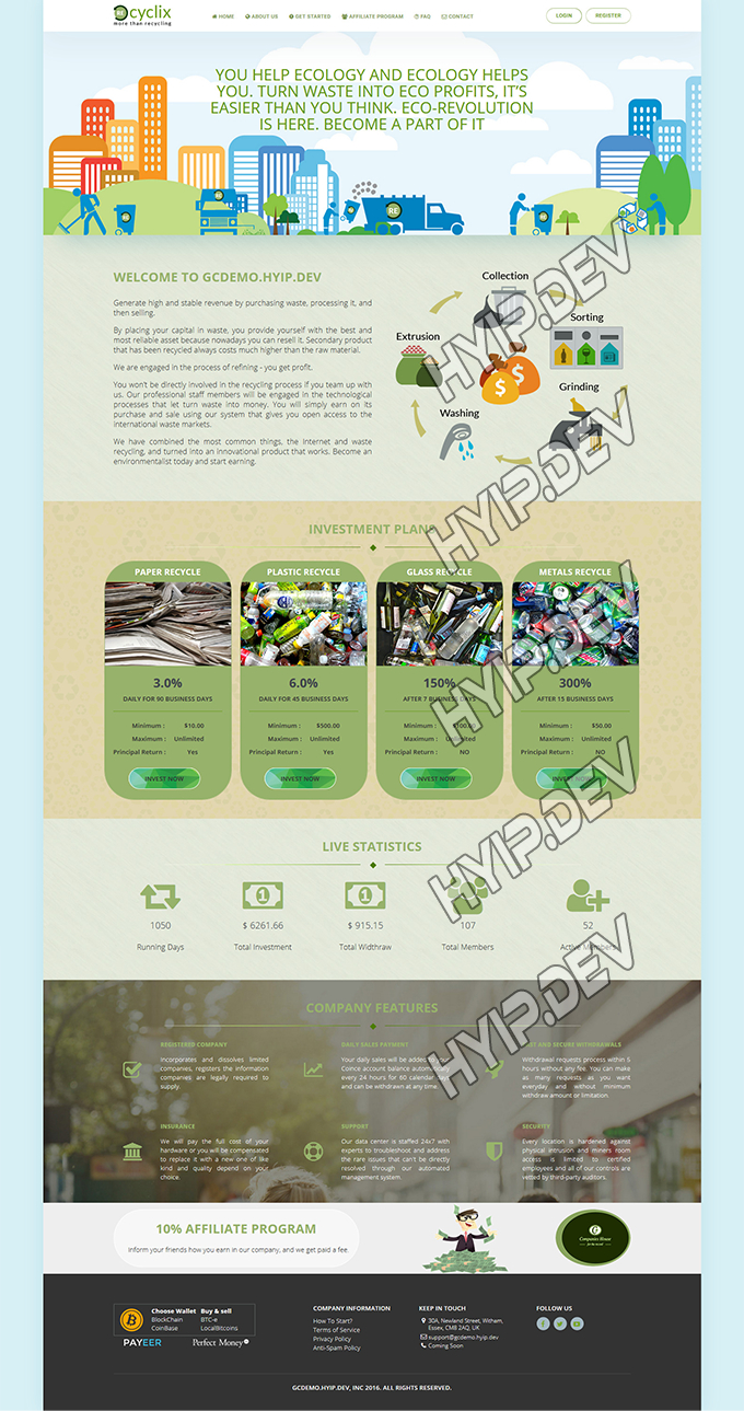 goldcoders hyip template no. 081, home page screenshot