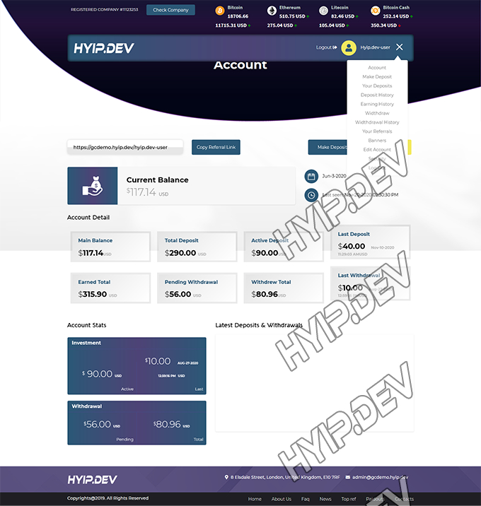goldcoders hyip template no. 082, account page screenshot