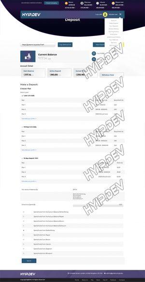 goldcoders hyip template no. 082, deposit page screenshot