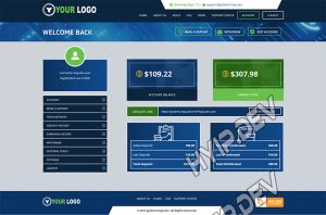 goldcoders hyip template no. 083, account page screenshot
