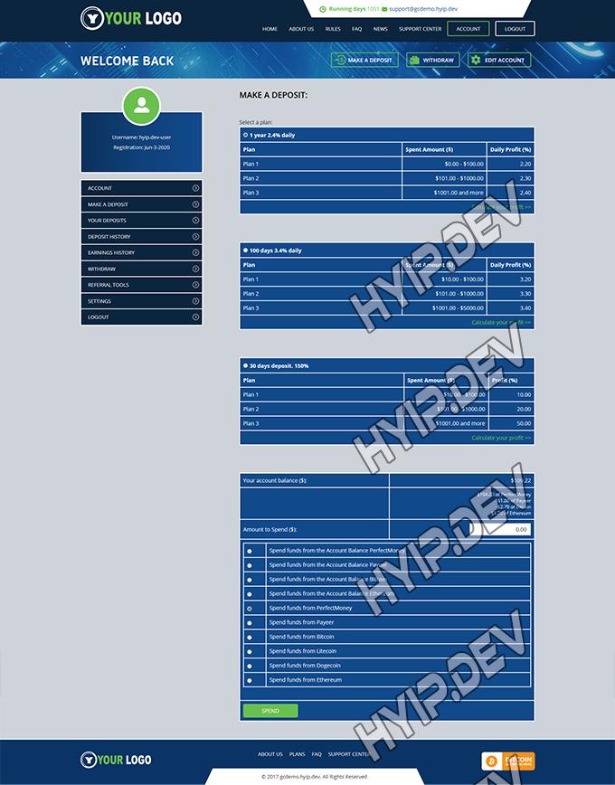 goldcoders hyip template no. 083, deposit page screenshot