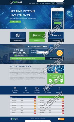 goldcoders hyip template no. 083, home page screenshot