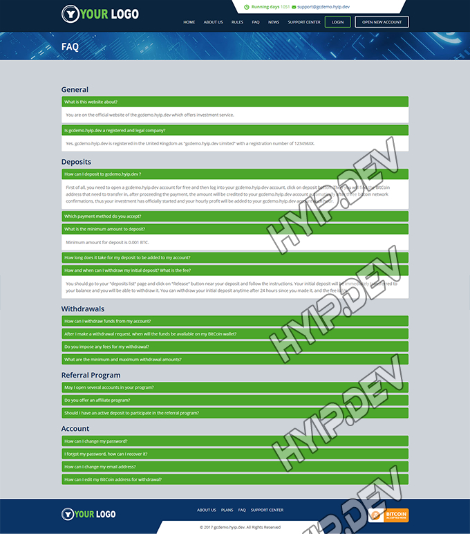 goldcoders hyip template no. 083, default page screenshot