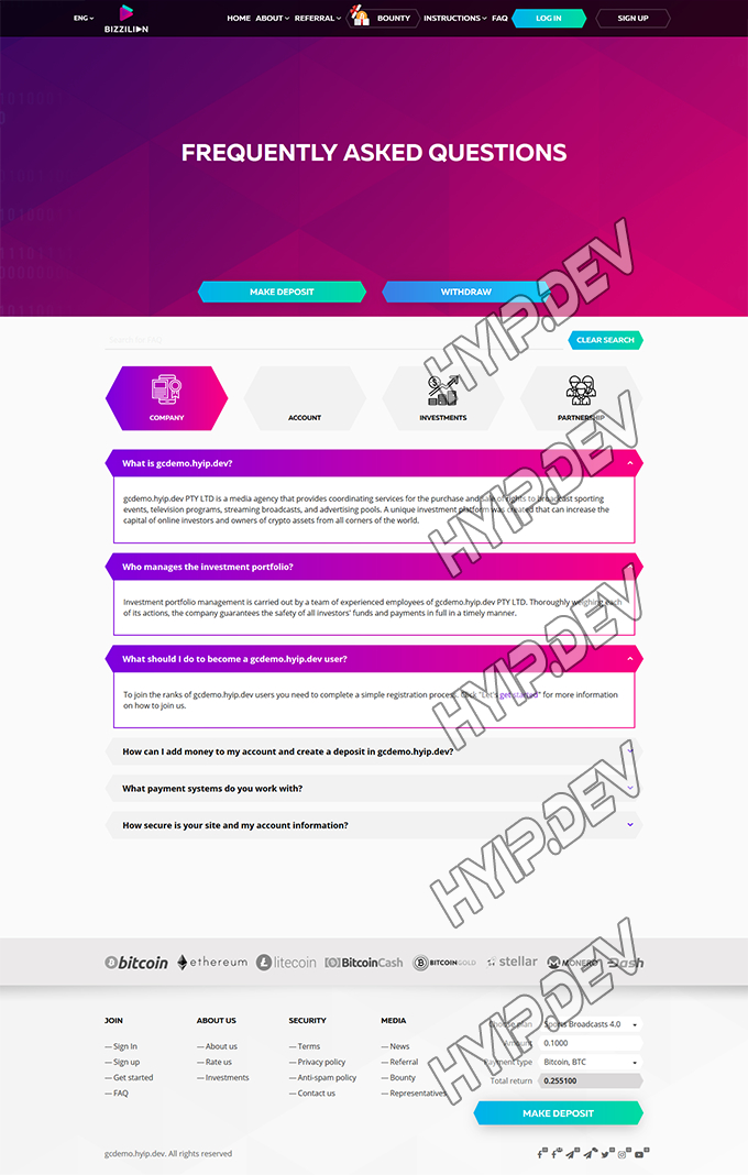 goldcoders hyip template no. 084, default page screenshot