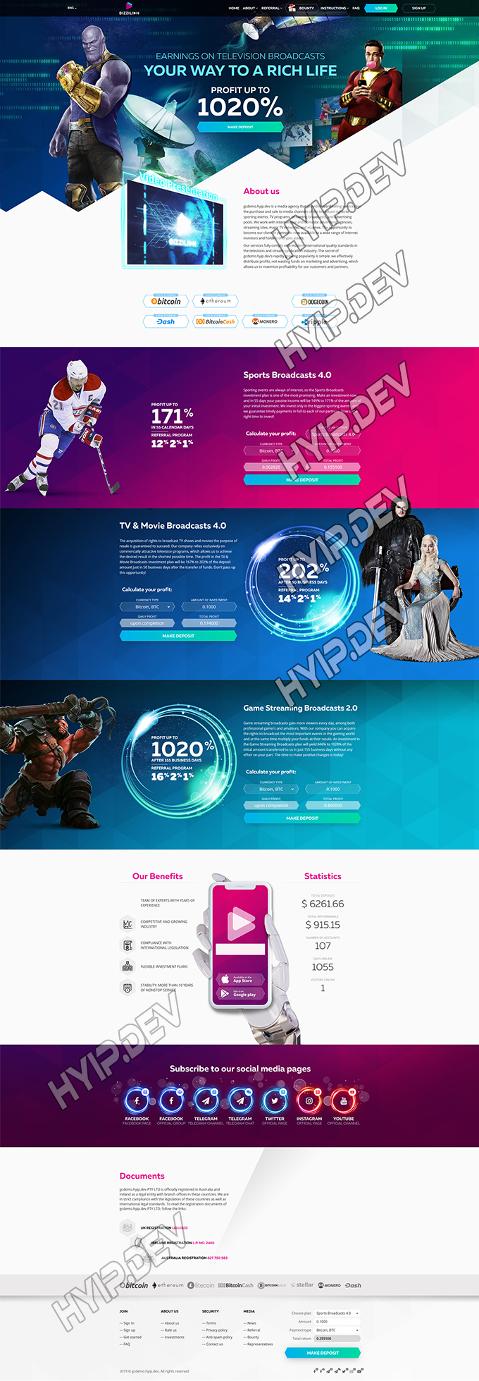 goldcoders hyip template no. 084, home page screenshot