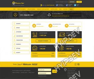 goldcoders hyip template no. 085, account page screenshot