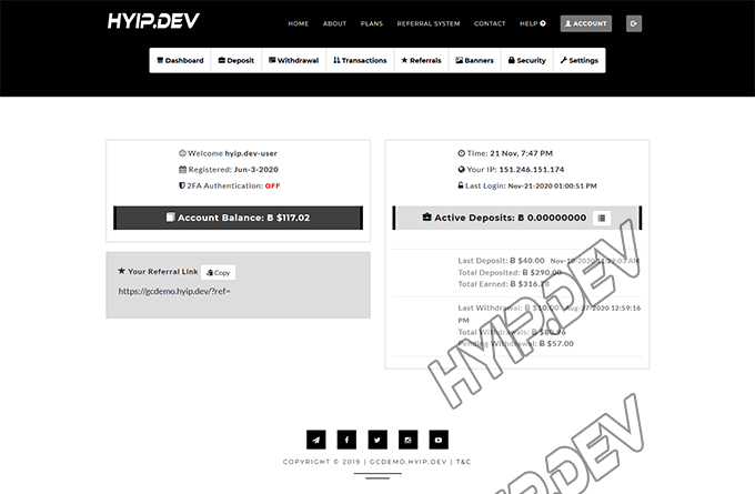 goldcoders hyip template no. 086, account page screenshot