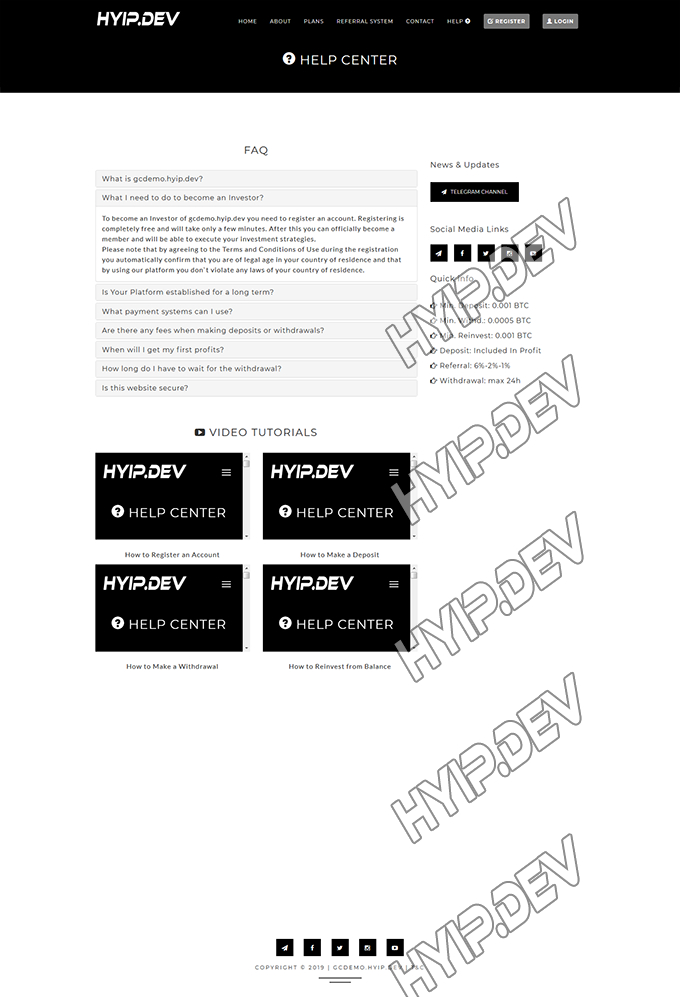 goldcoders hyip template no. 086, default page screenshot