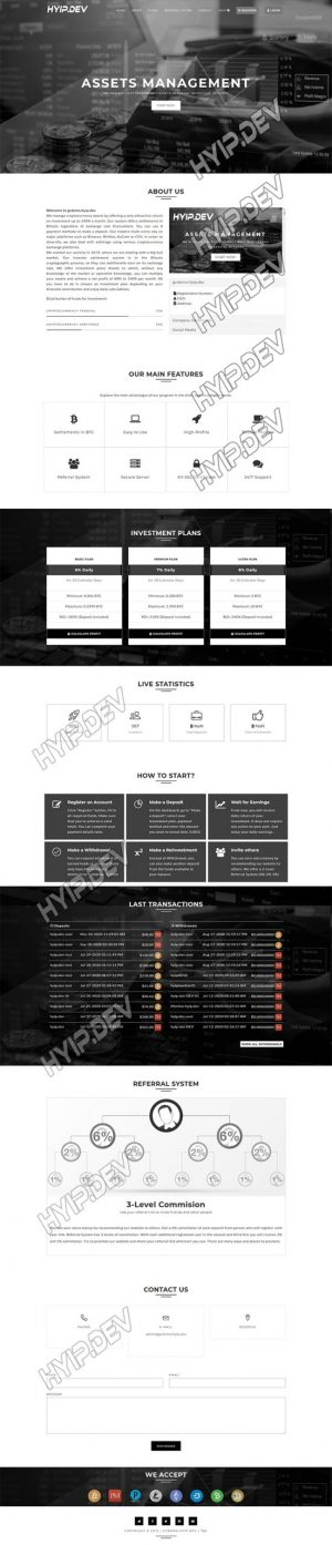 goldcoders hyip template no. 086, home page screenshot