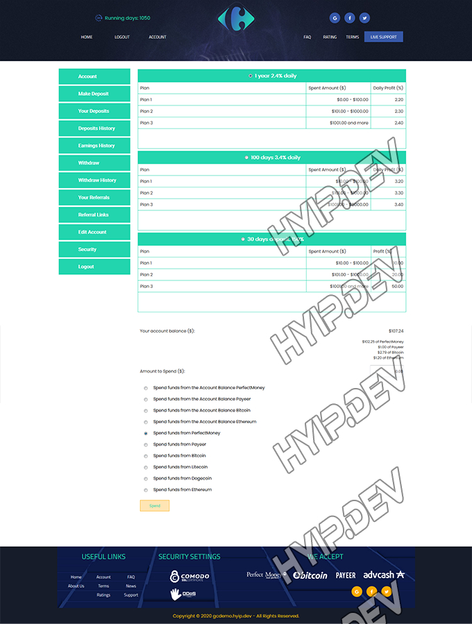 goldcoders hyip template no. 087, deposit page screenshot