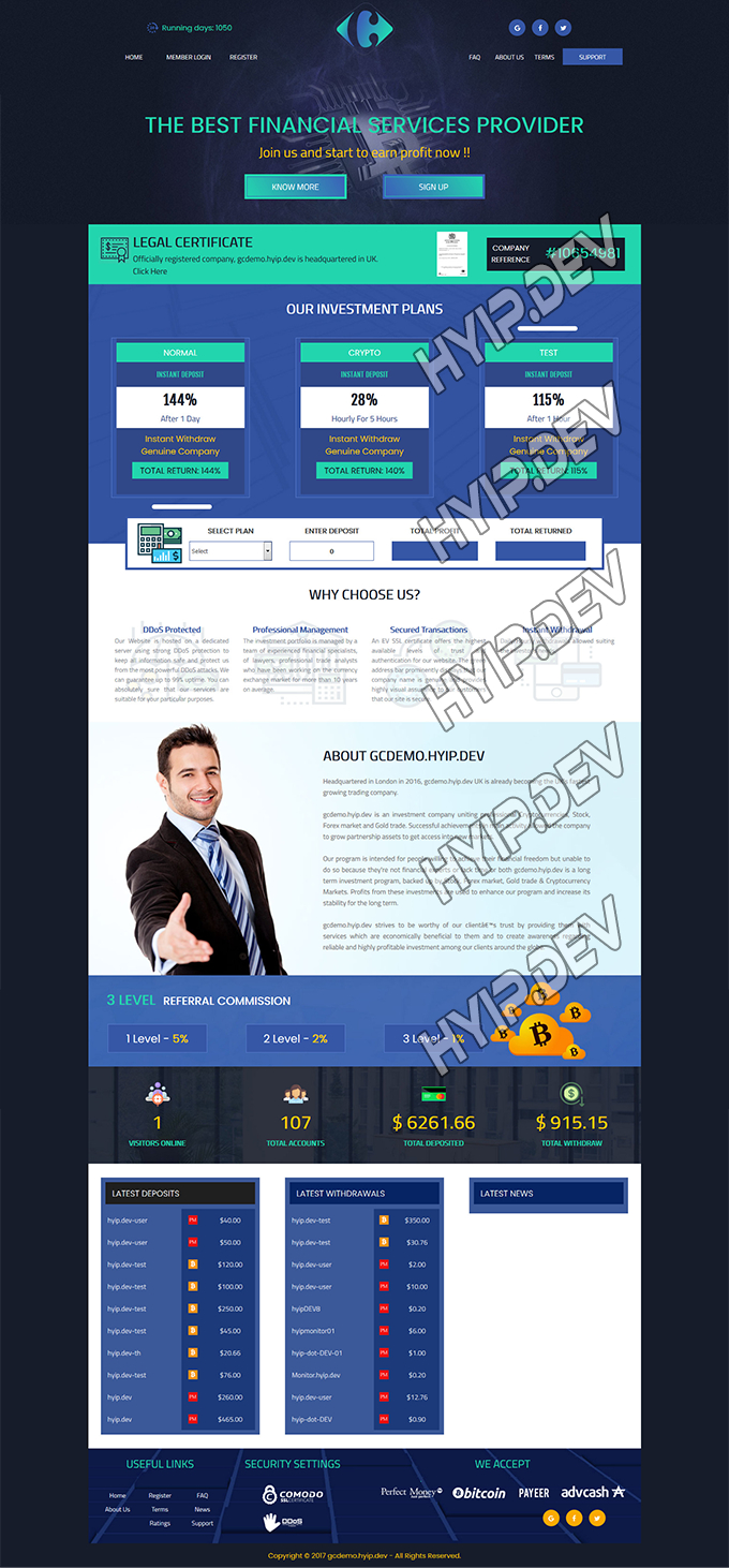 goldcoders hyip template no. 087, home page screenshot