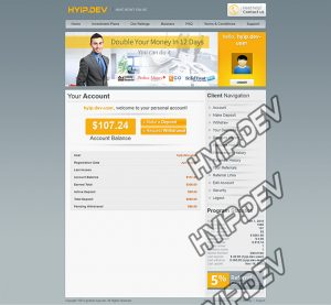 goldcoders hyip template no. 089, account page screenshot