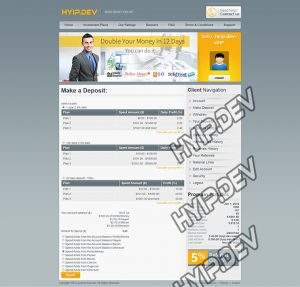 goldcoders hyip template no. 089, deposit page screenshot