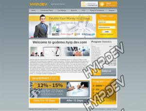 goldcoders hyip template no. 089, home page screenshot