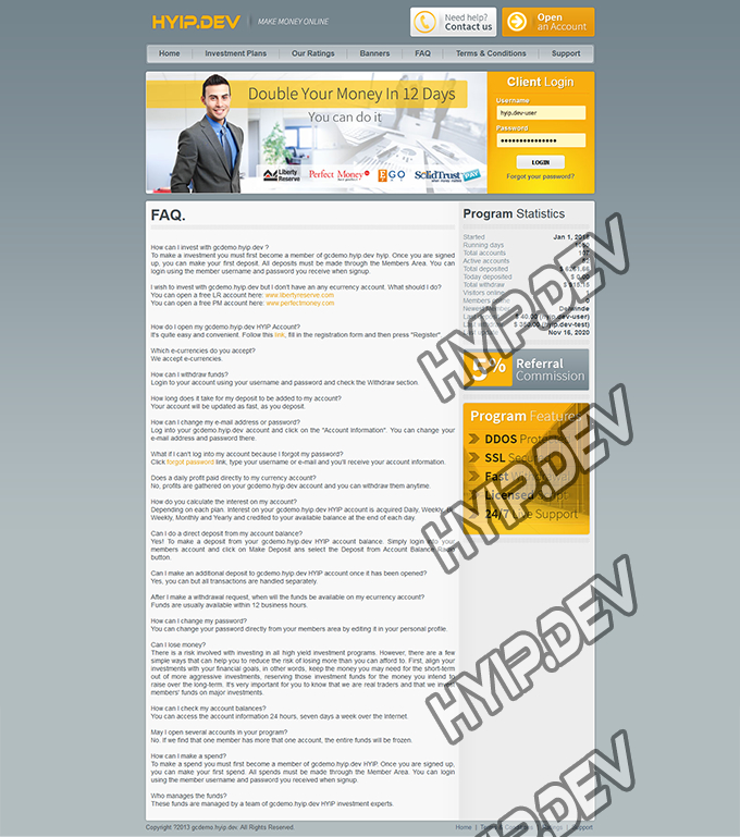 goldcoders hyip template no. 089, default page screenshot