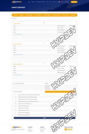 goldcoders hyip template no. 091, deposit page screenshot