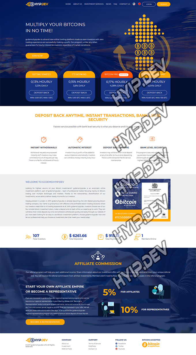 goldcoders hyip template no. 091, home page screenshot