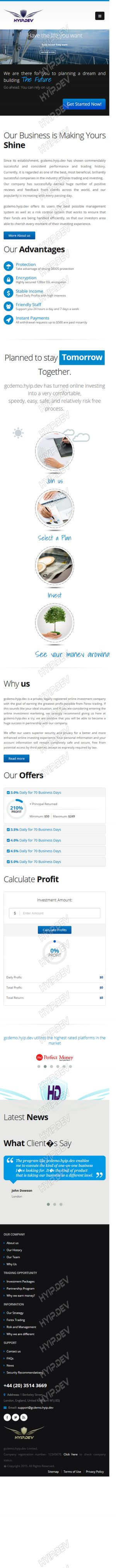 goldcoders hyip template no. 092, responsive page screenshot