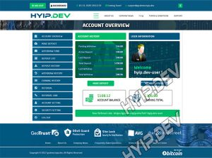 goldcoders hyip template no. 093, account page screenshot