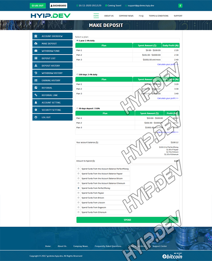 goldcoders hyip template no. 093, deposit page screenshot