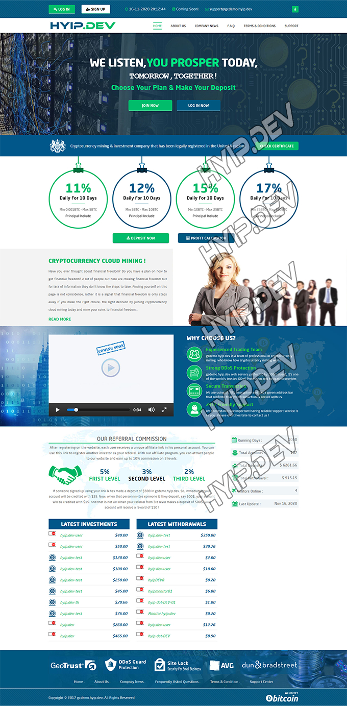 goldcoders hyip template no. 093, home page screenshot