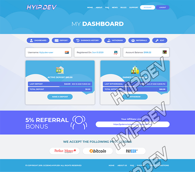goldcoders hyip template no. 095, account page screenshot