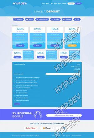 goldcoders hyip template no. 095, deposit page screenshot
