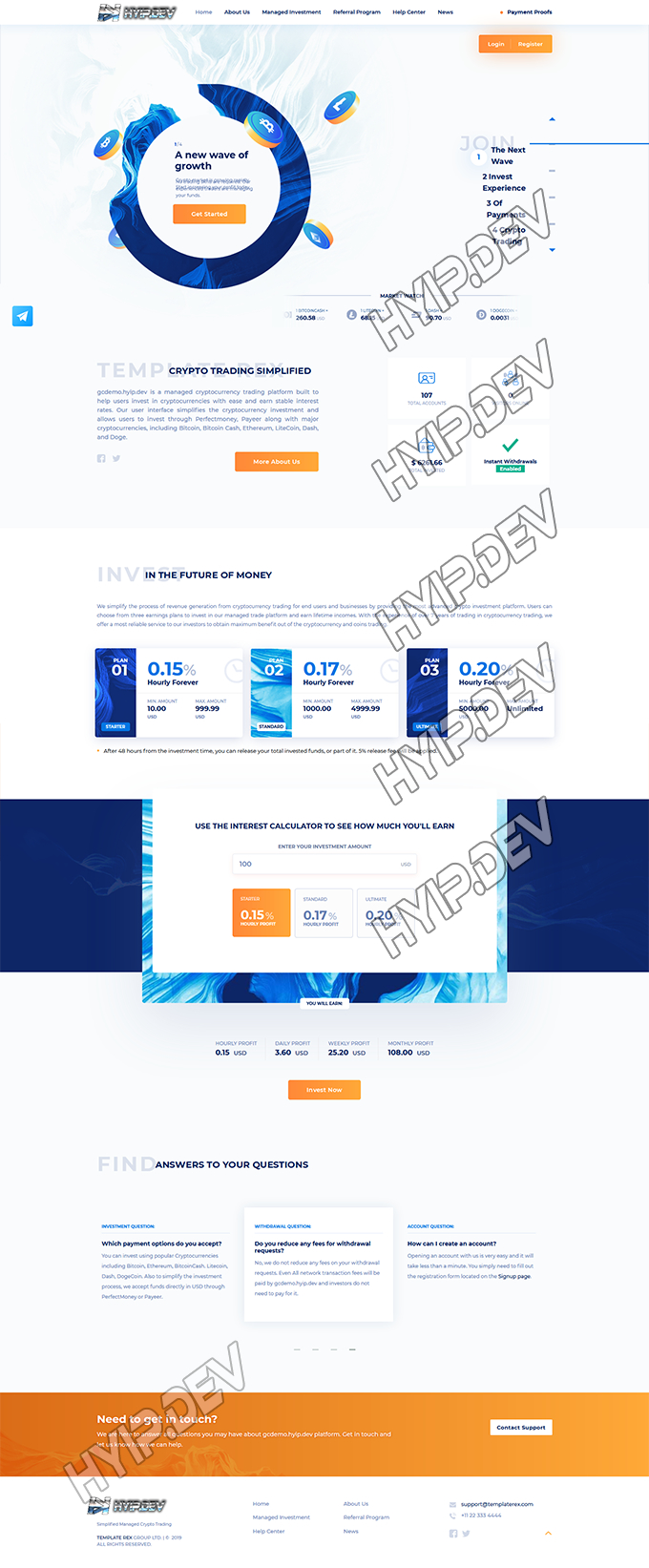 goldcoders hyip template no. 096, home page screenshot