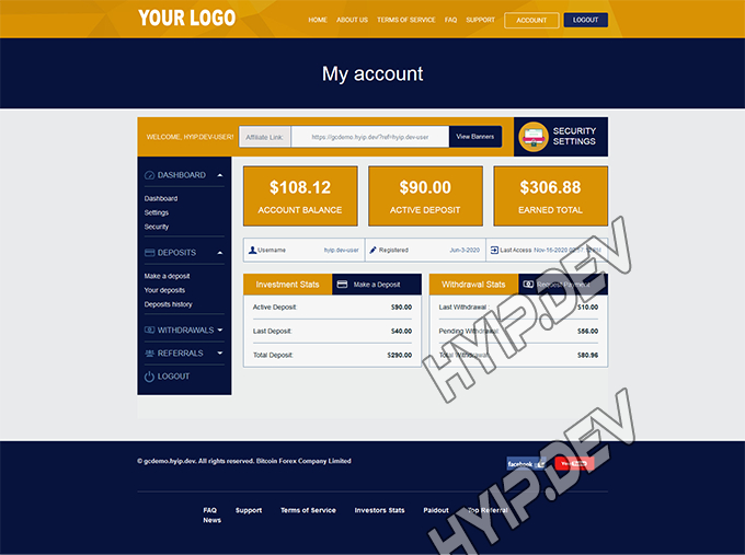 goldcoders hyip template no. 097, account page screenshot