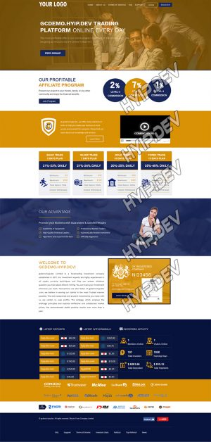 goldcoders hyip template no. 097, home page screenshot