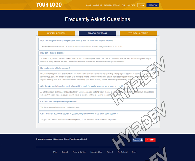 goldcoders hyip template no. 097, default page screenshot