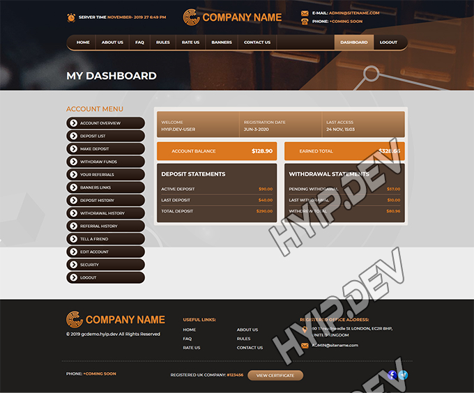 goldcoders hyip template no. 098, account page screenshot