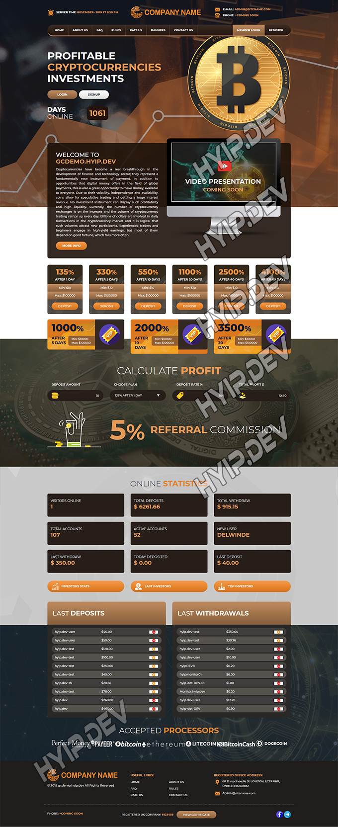 goldcoders hyip template no. 098, home page screenshot