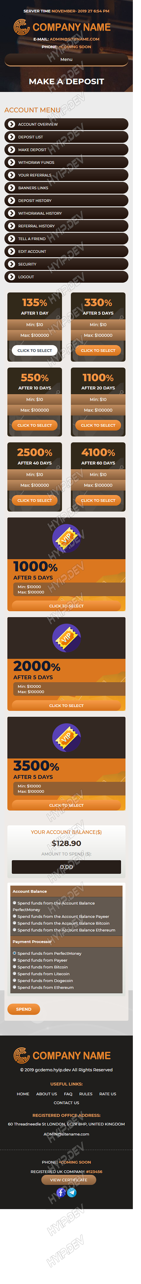 goldcoders hyip template no. 098, mobile page screenshot