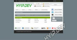 goldcoders hyip template no. 099, account page screenshot
