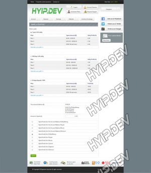 goldcoders hyip template no. 099, deposit page screenshot