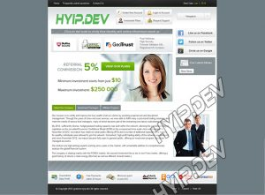 goldcoders hyip template no. 099, home page screenshot