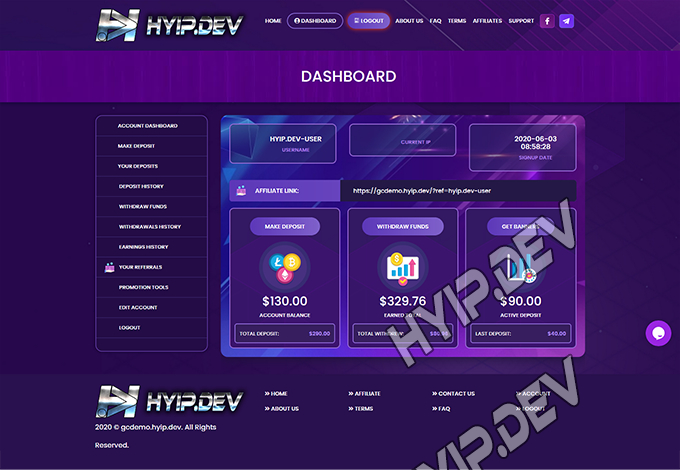 goldcoders hyip template no. 100, account page screenshot
