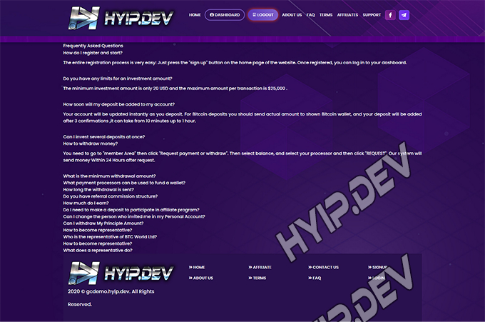 goldcoders hyip template no. 100, default page screenshot