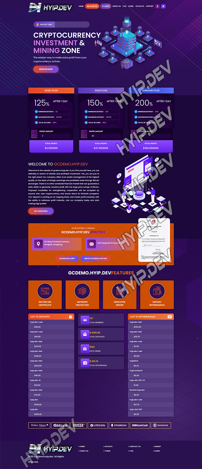 goldcoders hyip template no. 100, home page screenshot