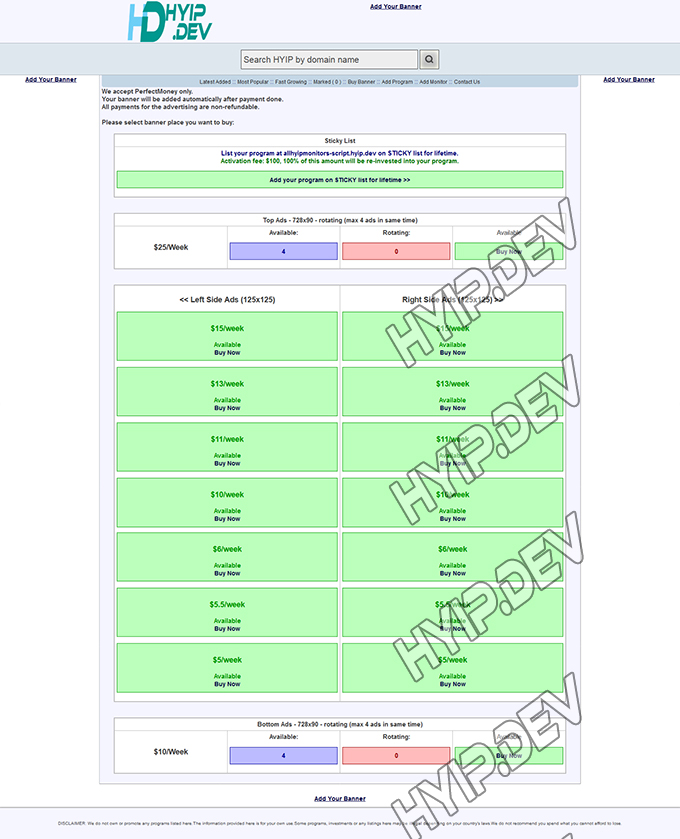 allhyipmonitors script ads page screenshot