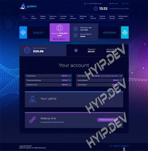 goldcoders hyip template no. 101, account page screenshot