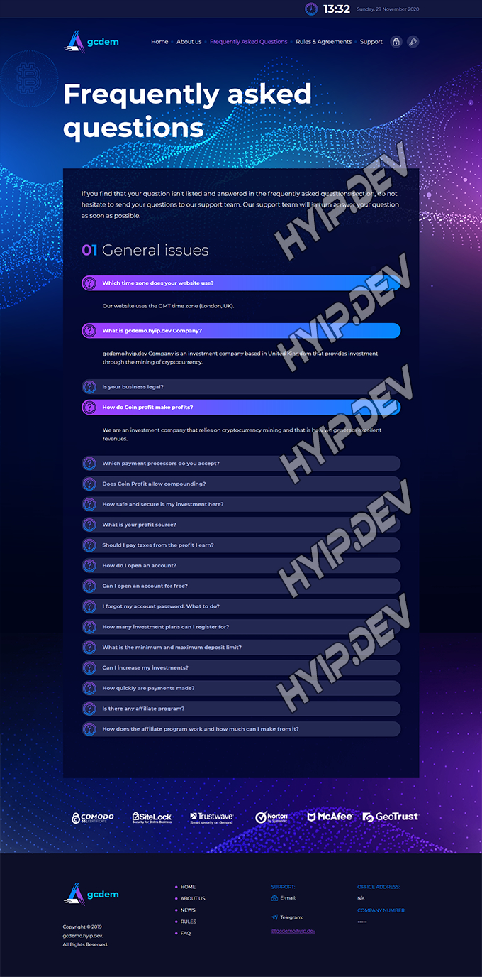 goldcoders hyip template no. 101, default page screenshot