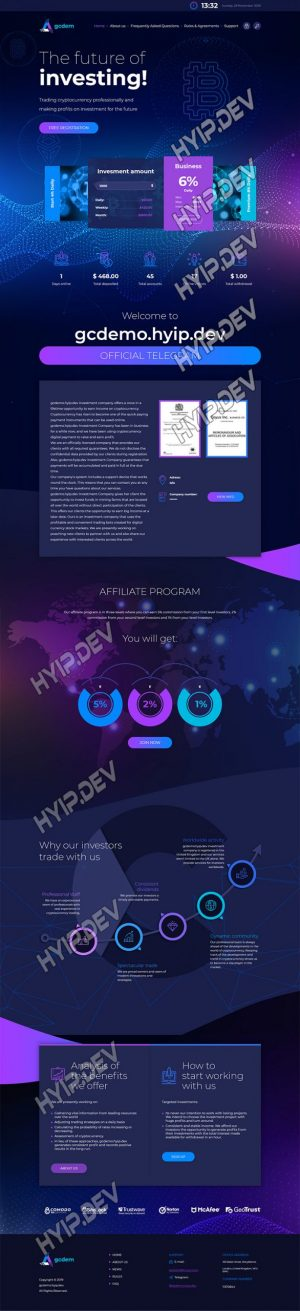goldcoders hyip template no. 101, home page screenshot
