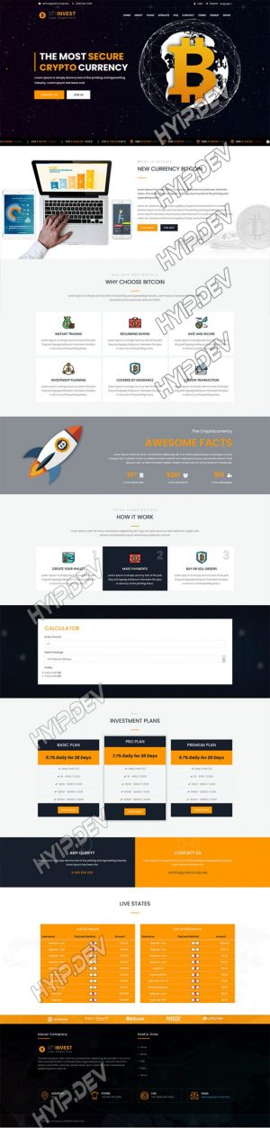 goldcoders hyip template no. 102, home page screenshot